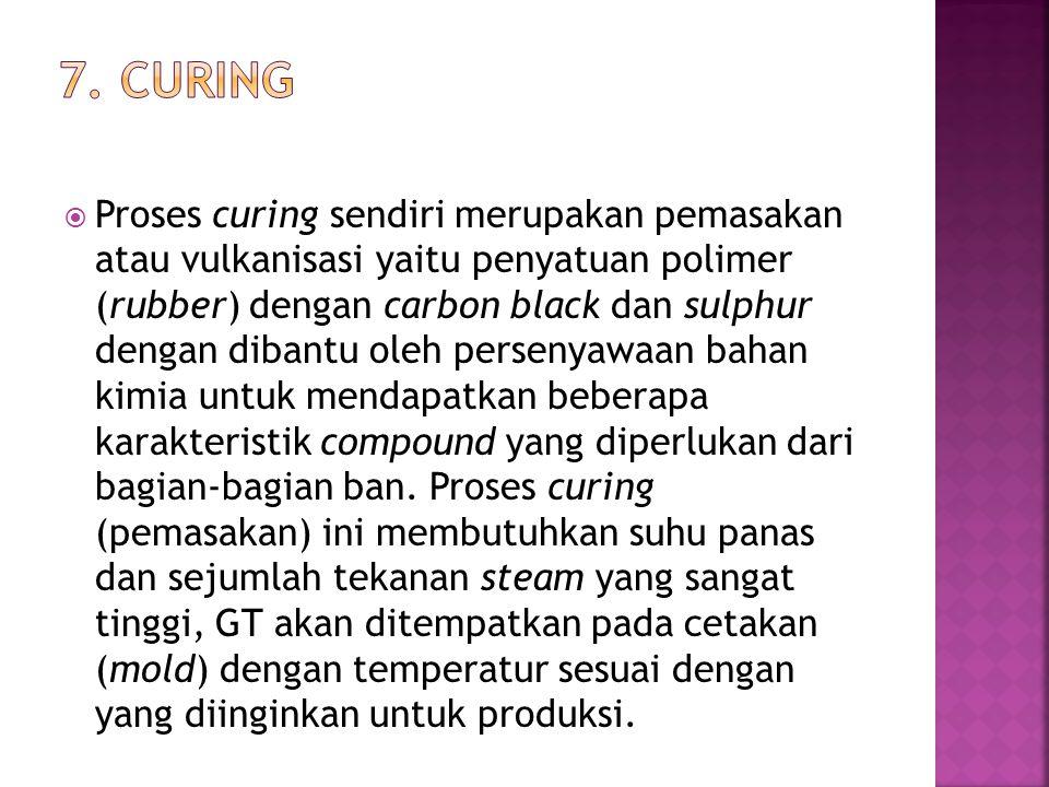  Proses curing sendiri merupakan pemasakan atau vulkanisasi yaitu penyatuan polimer (rubber) dengan carbon black dan sulphur dengan dibantu oleh pers