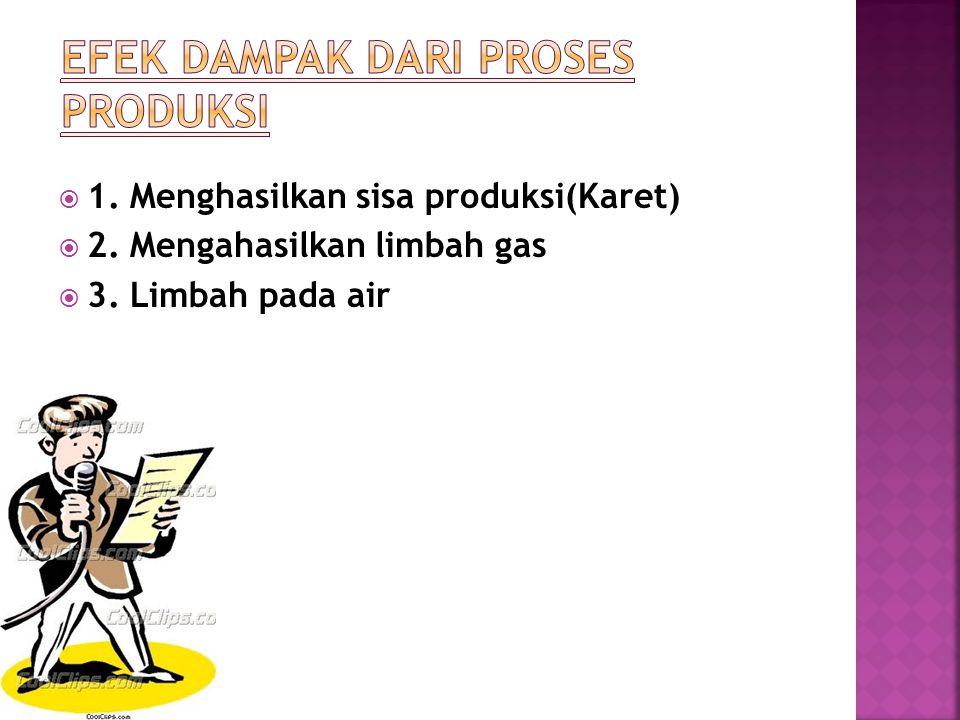  1. Menghasilkan sisa produksi(Karet)  2. Mengahasilkan limbah gas  3. Limbah pada air