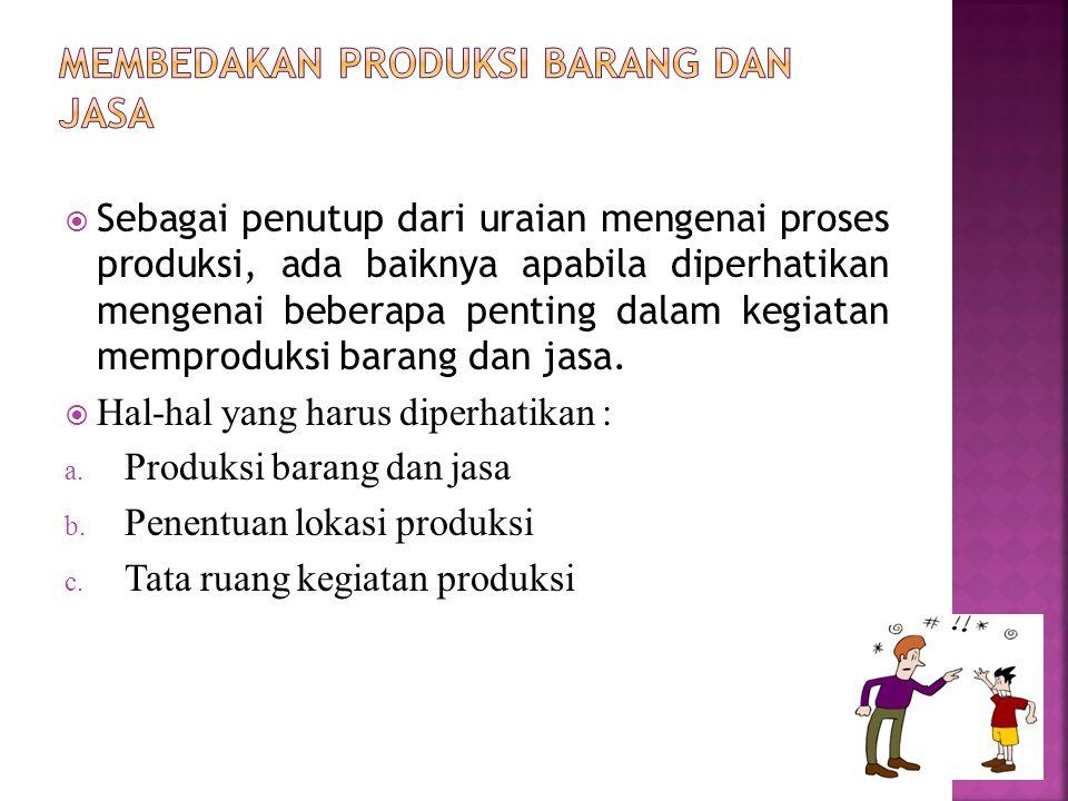  Sebagai penutup dari uraian mengenai proses produksi, ada baiknya apabila diperhatikan mengenai beberapa penting dalam kegiatan memproduksi barang d