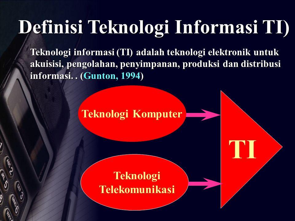Definisi Teknologi Informasi TI) Teknologi informasi (TI) adalah teknologi elektronik untuk akuisisi, pengolahan, penyimpanan, produksi dan distribusi informasi..