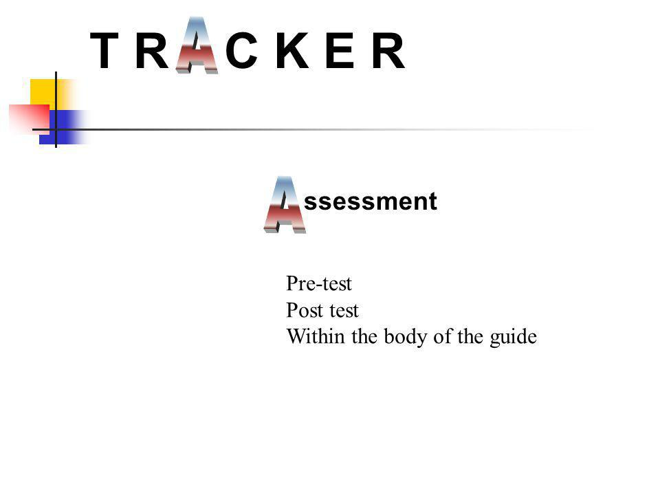 ssessment T R C K E R Pre-test Post test Within the body of the guide