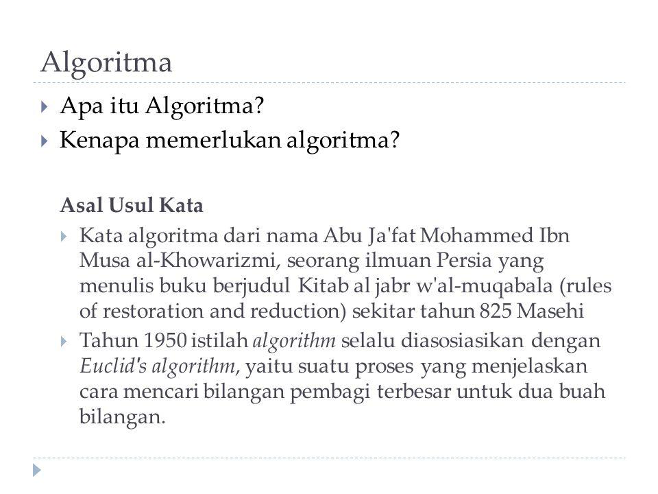 Algoritma  Apa itu Algoritma?  Kenapa memerlukan algoritma? Asal Usul Kata  Kata algoritma dari nama Abu Ja'fat Mohammed Ibn Musa al-Khowarizmi, se