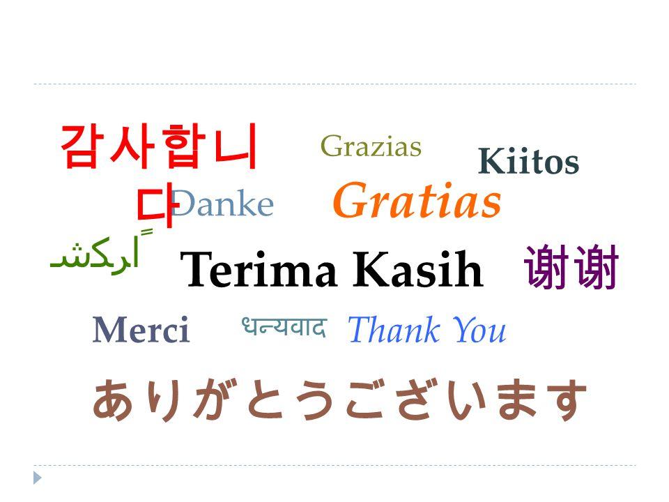 Terima Kasih Thank You Danke Gratias Merci ありがとうございます 감사합니 다 Kiitos 谢谢 ﺷﻜﺮﺍ ﹰ Grazias धन्यवाद