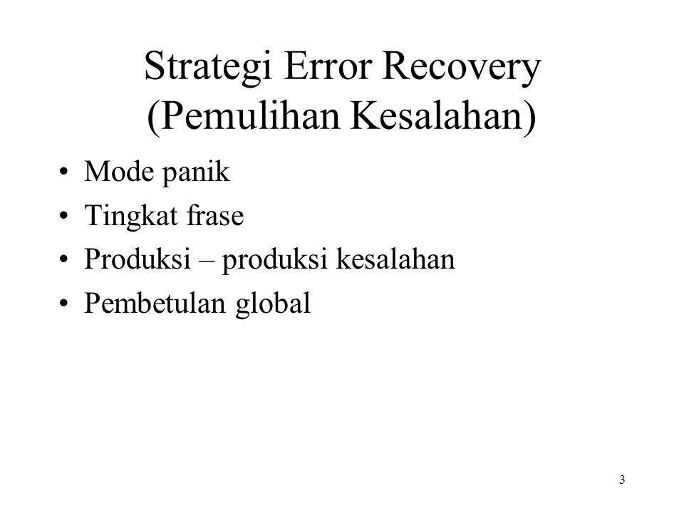 3 Strategi Error Recovery (Pemulihan Kesalahan) Mode panik Tingkat frase Produksi – produksi kesalahan Pembetulan global