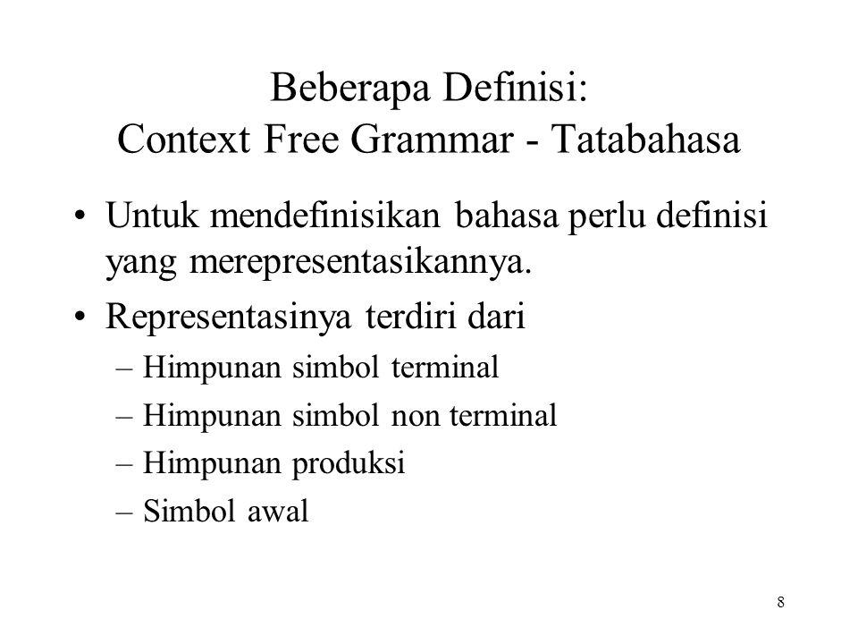 8 Beberapa Definisi: Context Free Grammar - Tatabahasa Untuk mendefinisikan bahasa perlu definisi yang merepresentasikannya. Representasinya terdiri d