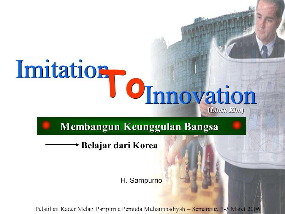 Imitation To Innovation ( Linsu Kim ) Membangun Keunggulan Bangsa Belajar dari Korea H. Sampurno Pelatihan Kader Melati Paripurna Pemuda Muhammadiyah