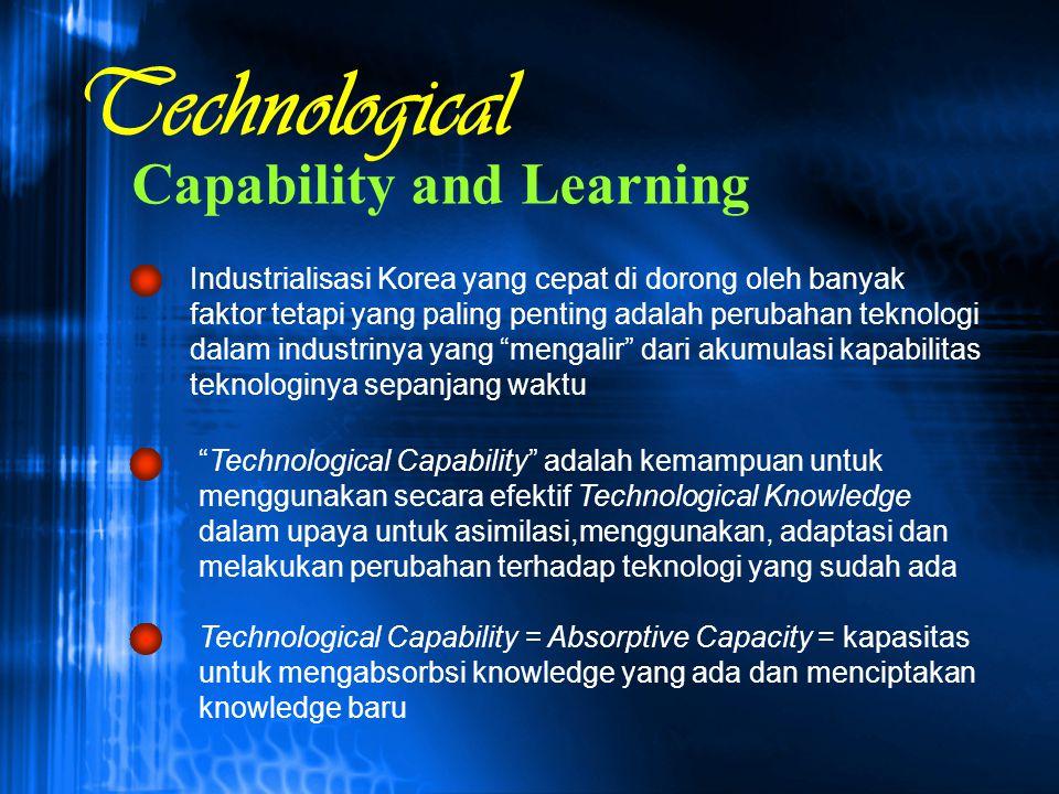 Capability and Learning Industrialisasi Korea yang cepat di dorong oleh banyak faktor tetapi yang paling penting adalah perubahan teknologi dalam indu