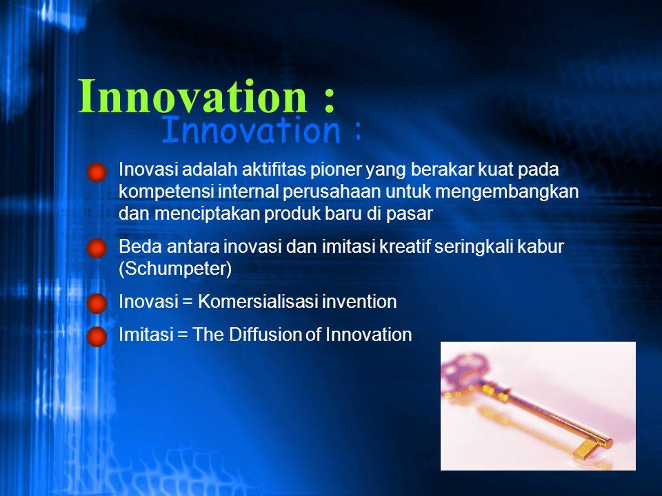 Innovation : Inovasi adalah aktifitas pioner yang berakar kuat pada kompetensi internal perusahaan untuk mengembangkan dan menciptakan produk baru di