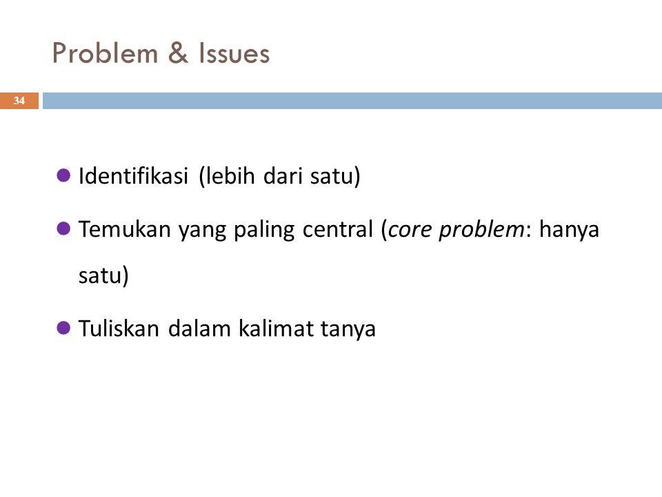 Problem & Issues 34 Identifikasi (lebih dari satu) Temukan yang paling central (core problem: hanya satu) Tuliskan dalam kalimat tanya