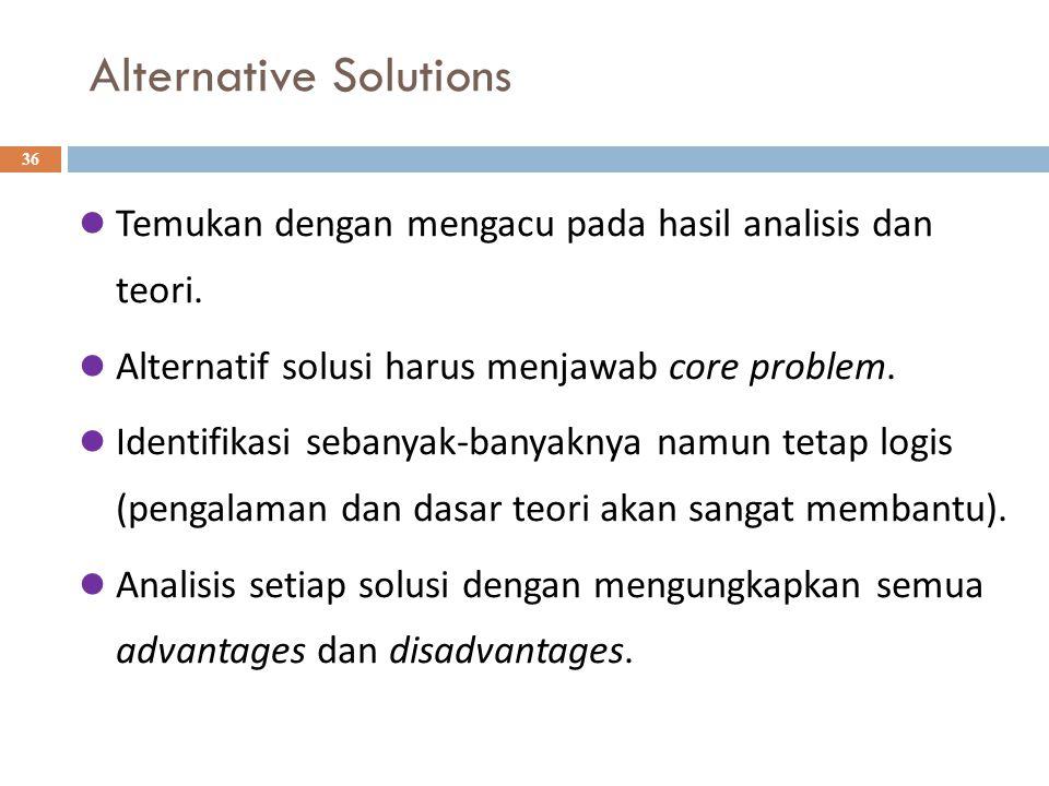 Alternative Solutions 36 Temukan dengan mengacu pada hasil analisis dan teori.