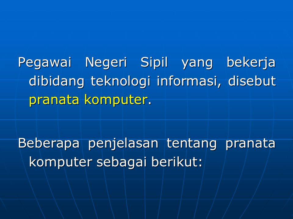 Pegawai Negeri Sipil yang bekerja dibidang teknologi informasi, disebut pranata komputer. Beberapa penjelasan tentang pranata komputer sebagai berikut
