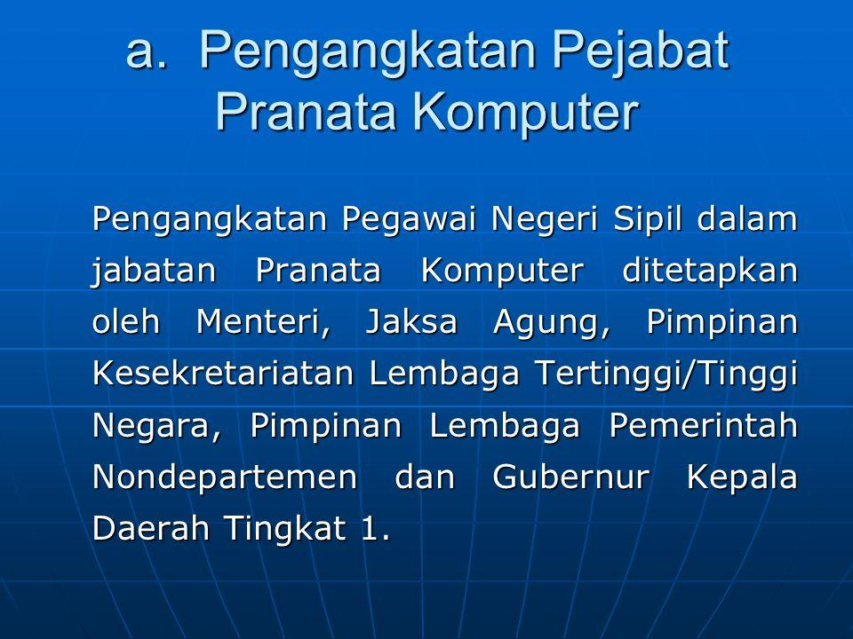 a. Pengangkatan Pejabat Pranata Komputer Pengangkatan Pegawai Negeri Sipil dalam jabatan Pranata Komputer ditetapkan oleh Menteri, Jaksa Agung, Pimpin