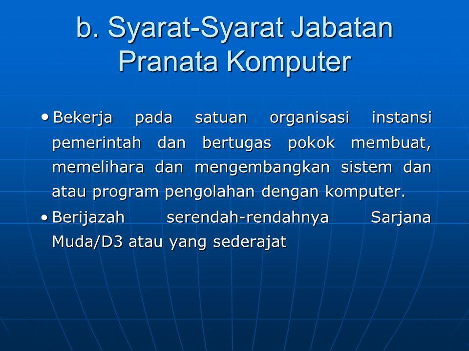 b. Syarat-Syarat Jabatan Pranata Komputer Bekerja pada satuan organisasi instansi pemerintah dan bertugas pokok membuat, memelihara dan mengembangkan