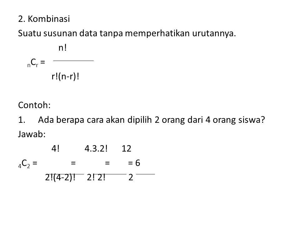 2. Kombinasi Suatu susunan data tanpa memperhatikan urutannya. n! n C r = r!(n-r)! Contoh: 1.Ada berapa cara akan dipilih 2 orang dari 4 orang siswa?