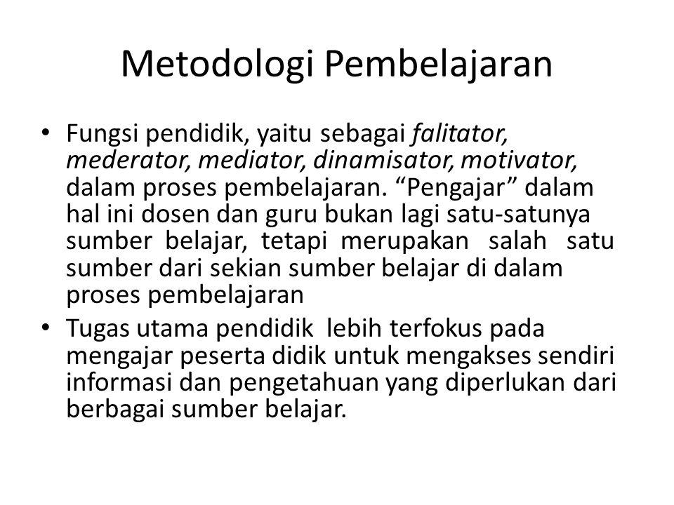 Metodologi Pembelajaran Fungsi pendidik sebagai facilitator, mederator, mediator, dinamisator, motivator, dalam membantu peserta didik belajar secara konstruktivis dapat melakukan tindakan-tindakan sebagai berikut : Pertama : Sebelum mengajar : [1] mempersiapkan bahan yang akan diajarkan, [2] mempersiapkan media yang akan digunakan, [3] mempersiapkan pertanyaan dan arahan untuk merangsang peserta didik aktif belajar, [4] mempelajari keadaan peserta didik, mengerti kelemahan dan kelebihan peserta didik, [5] mempelajari pengetahuan awal peserta didik.