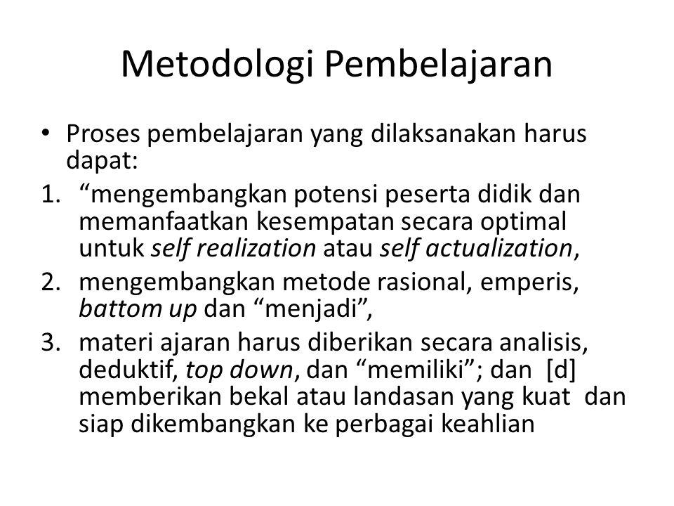 Metodologi Pembelajaran Sasaran setiap proses pembelajaran adalah asimilasi pembelajaran [miximizing student learning ], dan Mengurangi porsi ceramah guru dan dosen [minimizing teacher teaching ] dengan mengaktifkan peserta didik untuk mencari dan menemukan serta melakukan aktivitas belajar sendiri, sehingga konsep metodologi pembelajaran yang terbangun adalah pembelajaran [learning] bukan pengajaran [teaching] Inilah tantangan yang dihadapi guru dan dosen untuk mengemas dan mengimplementasikan materi-materi pelajaran dan materi-materi pembelajaran yang tertuang dalam kurikulum kepada peserta didik