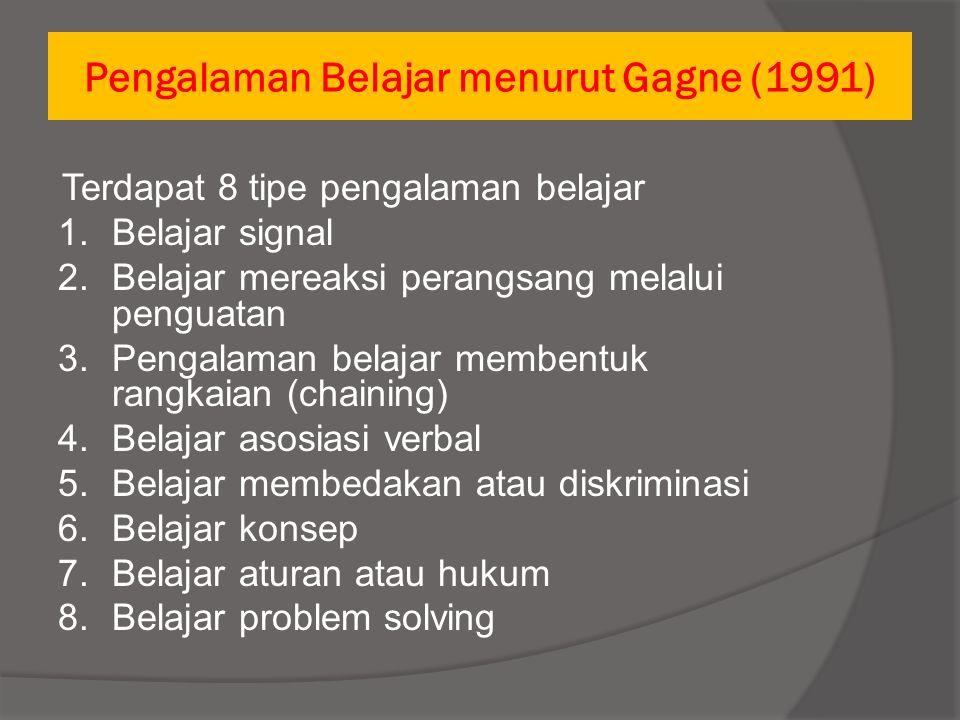 Pengalaman Belajar menurut Gagne (1991) Terdapat 5 jenis hasil belajar a.Intellectual skill b.Belajar informasi verbal c.Belajar mengatur kegiatan intelektual d.Belajar sikap e.Belajar keterampilan motorik