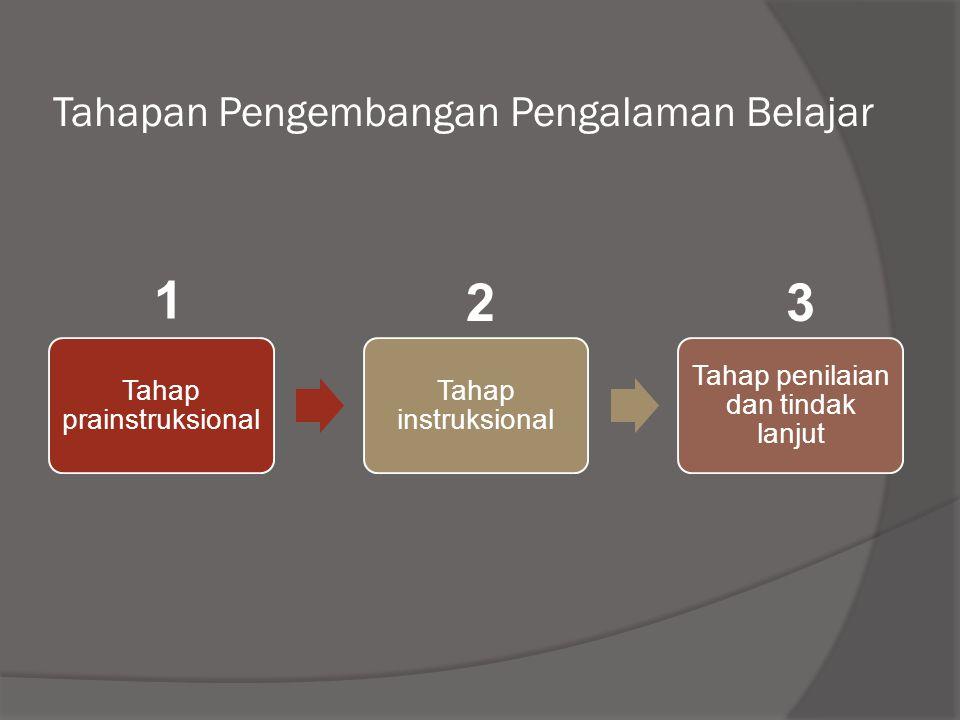Tahapan Pengembangan Pengalaman Belajar Tahap prainstruksional Tahap instruksional Tahap penilaian dan tindak lanjut 1 23