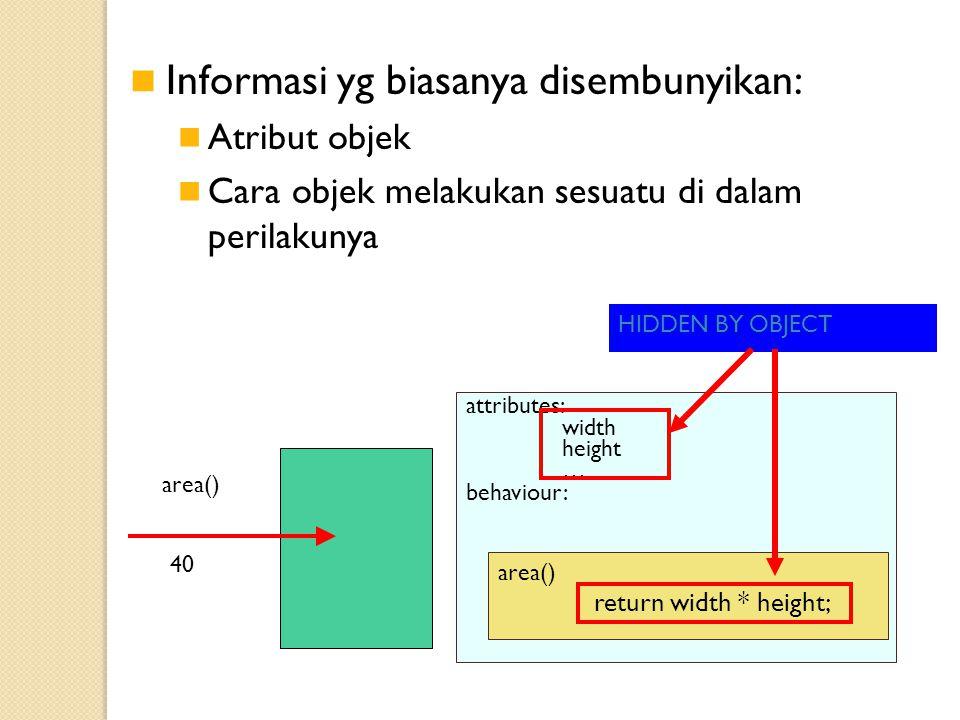 Informasi yg biasanya disembunyikan: Atribut objek Cara objek melakukan sesuatu di dalam perilakunya 40 area() attributes: width height … behaviour: area() return width * height; HIDDEN BY OBJECT