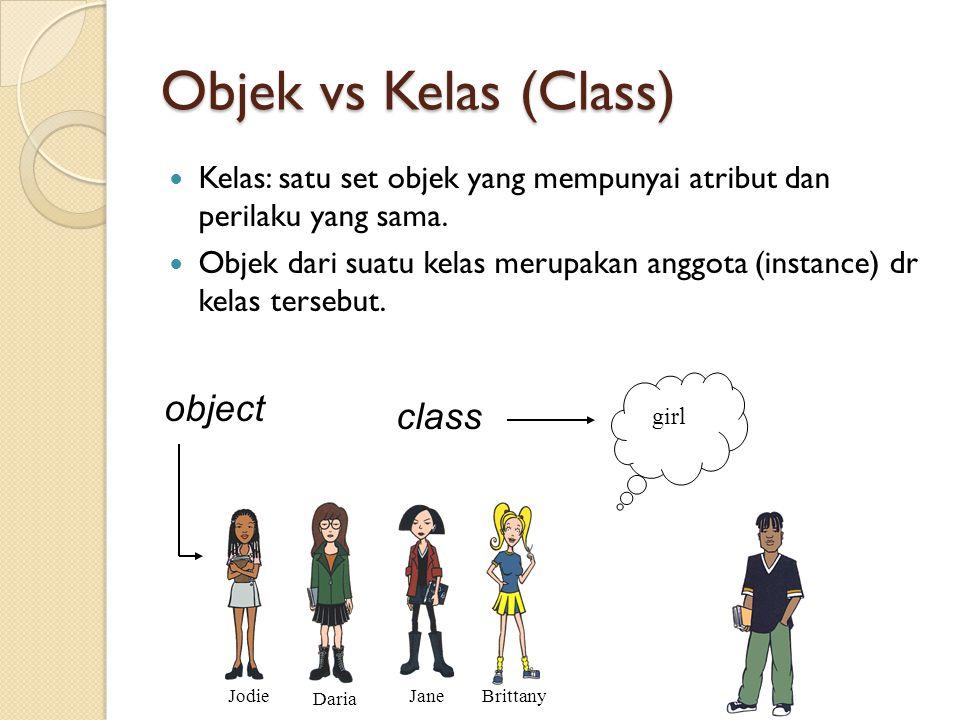 Objek vs Kelas (Class) Kelas: satu set objek yang mempunyai atribut dan perilaku yang sama. Objek dari suatu kelas merupakan anggota (instance) dr kel