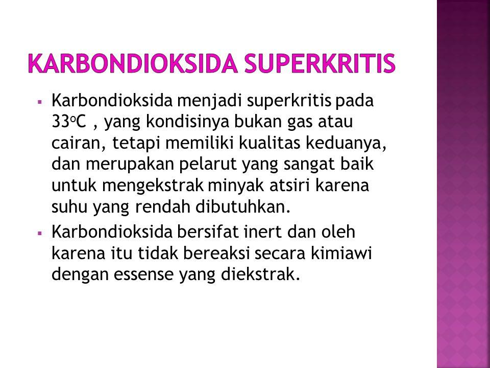  Karbondioksida menjadi superkritis pada 33 o C, yang kondisinya bukan gas atau cairan, tetapi memiliki kualitas keduanya, dan merupakan pelarut yang sangat baik untuk mengekstrak minyak atsiri karena suhu yang rendah dibutuhkan.