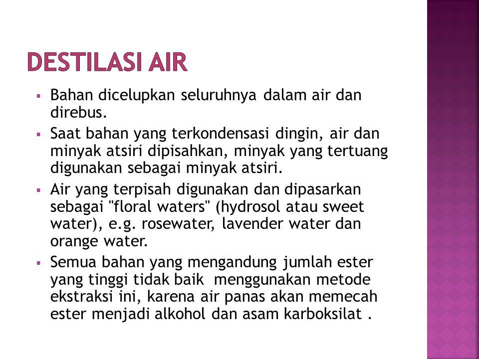  Bahan ditempatkan dalam suatu wadah dan dikenai uap air  Semakin cepat kelajuan akan mencegah kerusakan minyak.