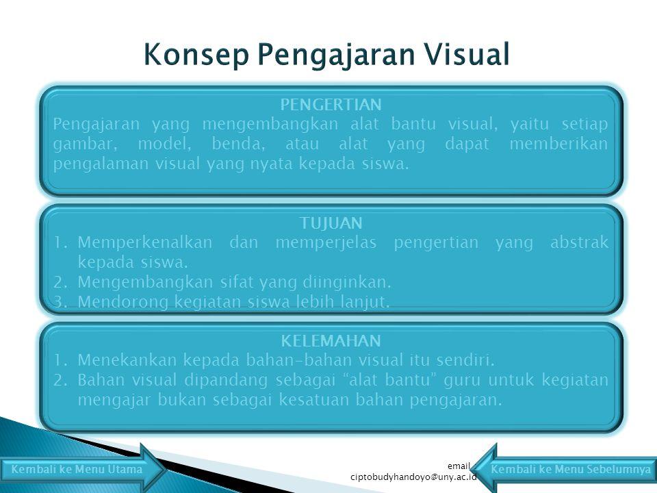 PENGERTIAN Pengajaran yang mengembangkan alat bantu visual, yaitu setiap gambar, model, benda, atau alat yang dapat memberikan pengalaman visual yang nyata kepada siswa.