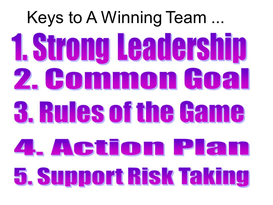 Keys to A Winning Team...