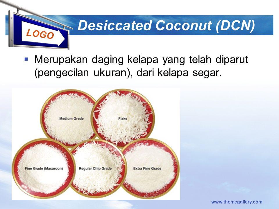 LOGO Desiccated Coconut (DCN)  Merupakan daging kelapa yang telah diparut (pengecilan ukuran), dari kelapa segar.