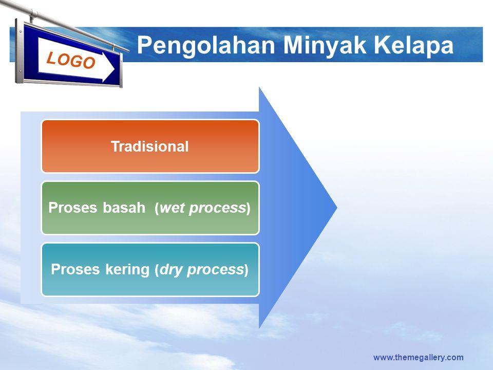 LOGO www.themegallery.com Pengolahan Minyak Kelapa Tradisional Proses basah ( wet process ) Proses kering ( dry process )