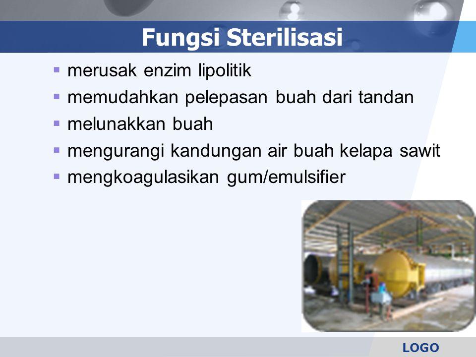 LOGO Fungsi Sterilisasi  merusak enzim lipolitik  memudahkan pelepasan buah dari tandan  melunakkan buah  mengurangi kandungan air buah kelapa saw