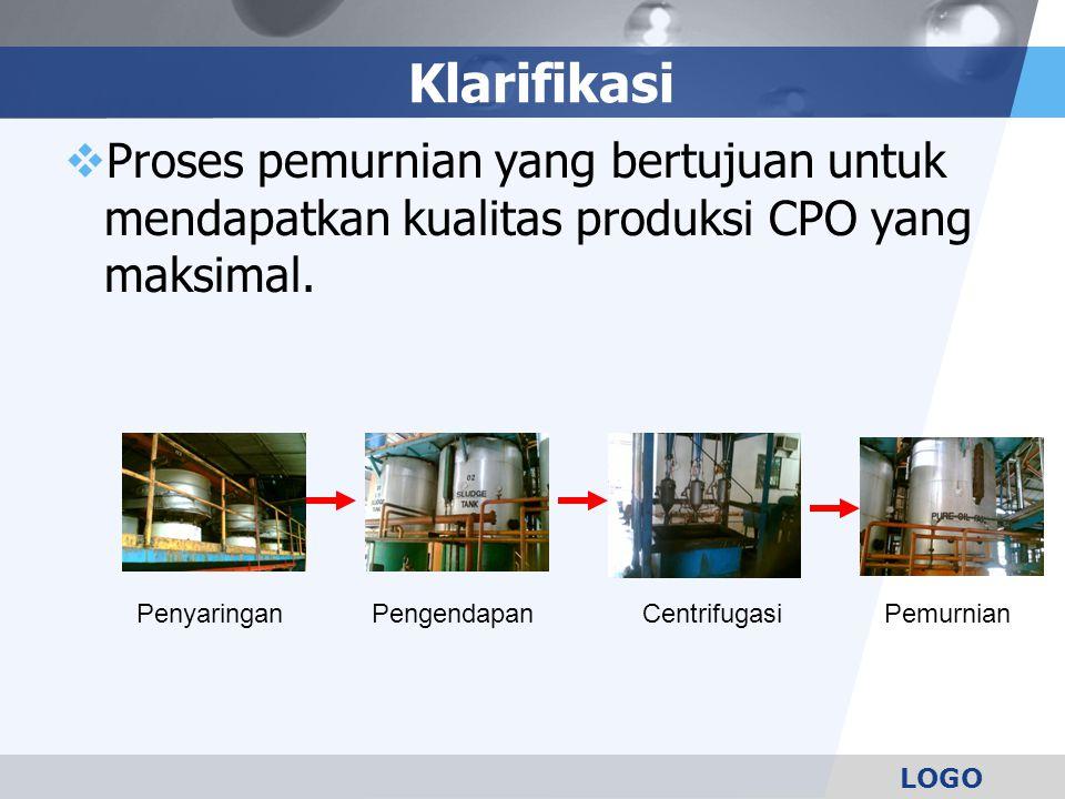 LOGO Klarifikasi  Proses pemurnian yang bertujuan untuk mendapatkan kualitas produksi CPO yang maksimal. PengendapanCentrifugasiPemurnianPenyaringan
