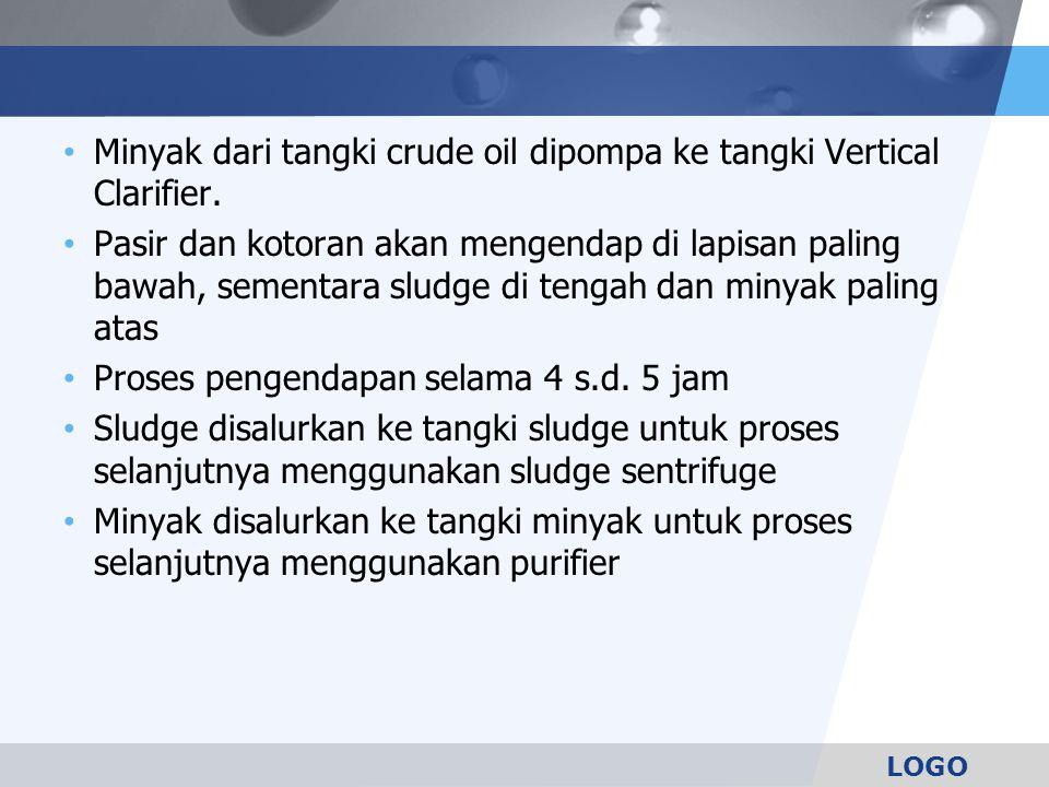 LOGO Minyak dari tangki crude oil dipompa ke tangki Vertical Clarifier. Pasir dan kotoran akan mengendap di lapisan paling bawah, sementara sludge di