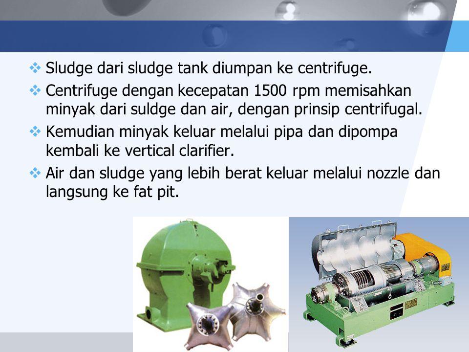 LOGO  Sludge dari sludge tank diumpan ke centrifuge.  Centrifuge dengan kecepatan 1500 rpm memisahkan minyak dari suldge dan air, dengan prinsip cen