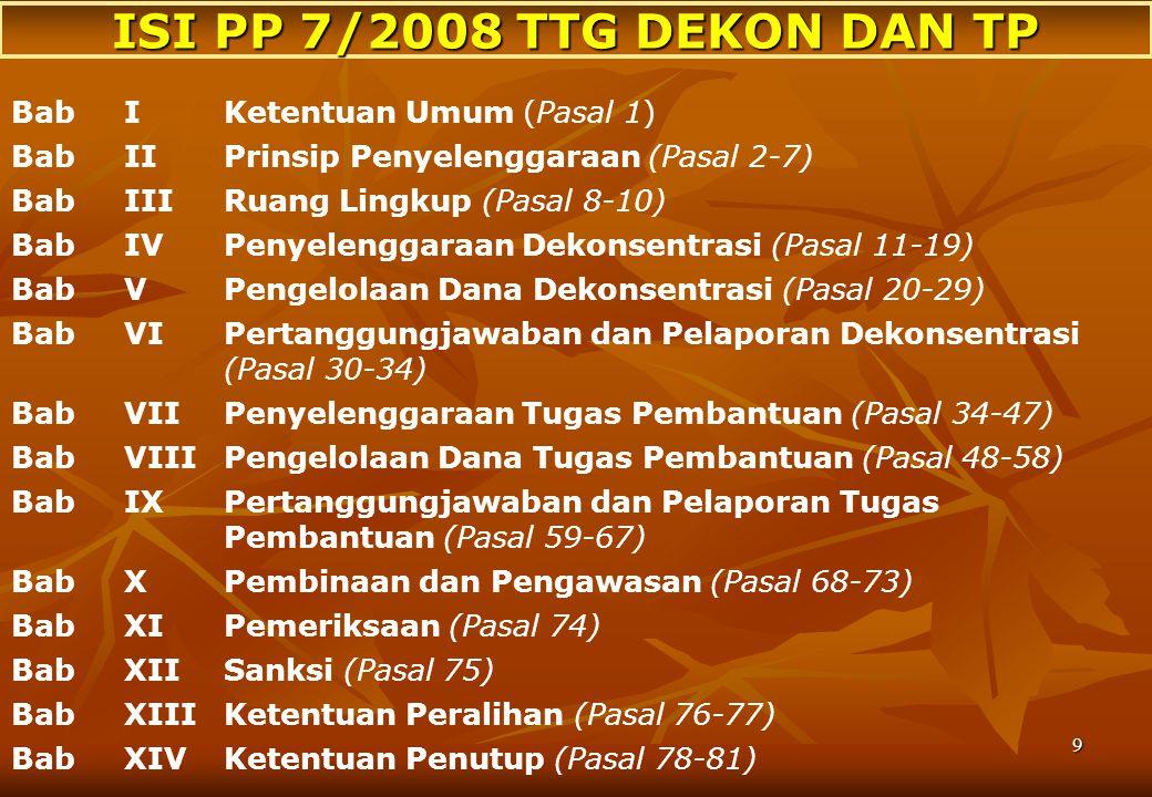 8 Dekon adalah pelimpahan wewenang pemerintahan oleh Pem kpd Gub. sbg wakil Pem dan/atau kpd instansi vertikal di wilayah tertentu. TP adlh penugasan