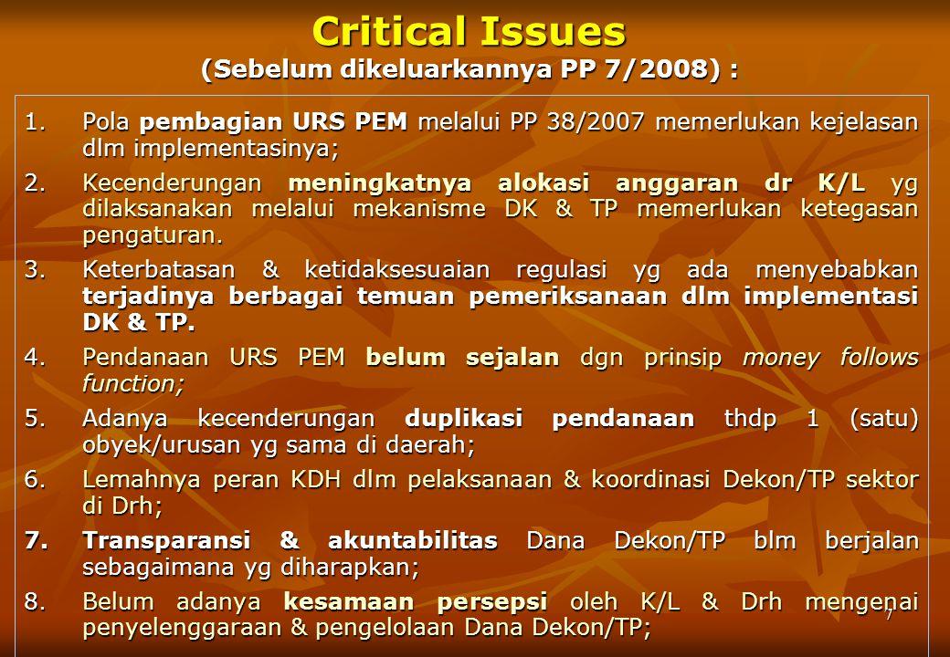 6 DASAR HUKUM PP 7/2008 TTG DEKON DAN TP 1.Pasal 20 ayat (2) UU Nomor 32/2004 ttg PEMDA 2.Pasal 92, 99, 108 UU No. 33/2004 ttg Perimbangan Keuangan An