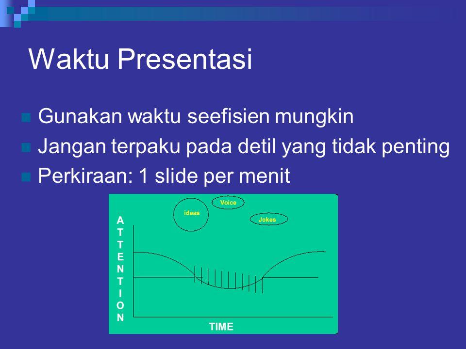Waktu Presentasi Gunakan waktu seefisien mungkin Jangan terpaku pada detil yang tidak penting Perkiraan: 1 slide per menit