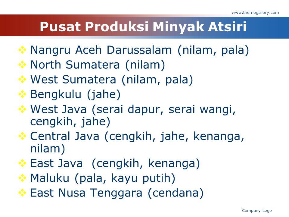 Pusat Produksi Minyak Atsiri  Nangru Aceh Darussalam (nilam, pala)  North Sumatera (nilam)  West Sumatera (nilam, pala)  Bengkulu (jahe)  West Ja