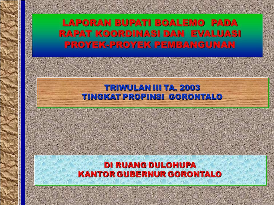 TRIWULAN III TA. 2003 TINGKAT PROPINSI GORONTALO TRIWULAN III TA.