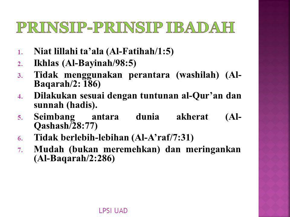 1. Niat lillahi ta'ala (Al-Fatihah/1:5) 2. Ikhlas (Al-Bayinah/98:5) 3. Tidak menggunakan perantara (washilah) (Al- Baqarah/2: 186) 4. Dilakukan sesuai