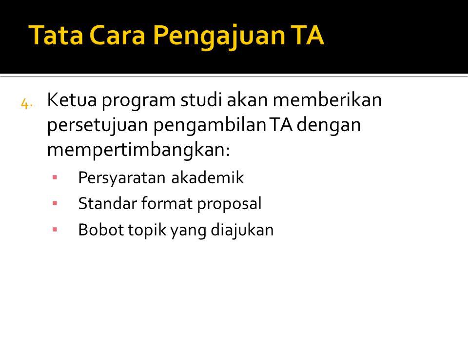  Menyerahkan Laporan Tugas Akhir dalam bentuk buku TA yang telah ditandatangani pembimbing dan penguji.
