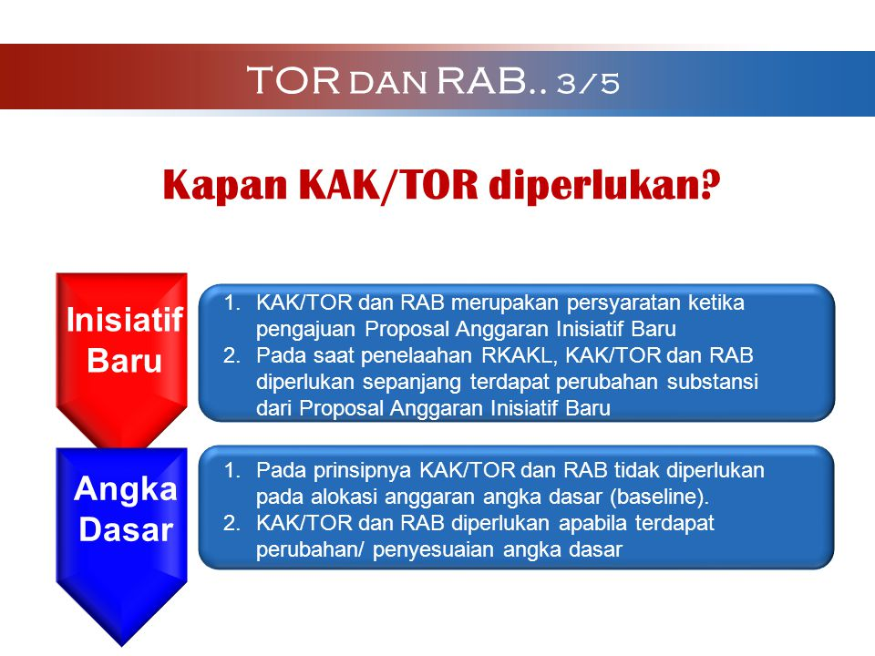 1.KAK/TOR dan RAB merupakan persyaratan ketika pengajuan Proposal Anggaran Inisiatif Baru 2.Pada saat penelaahan RKAKL, KAK/TOR dan RAB diperlukan sep