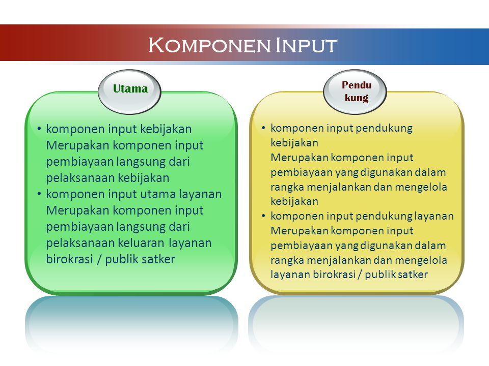 Utama komponen input kebijakan Merupakan komponen input pembiayaan langsung dari pelaksanaan kebijakan komponen input utama layanan Merupakan komponen