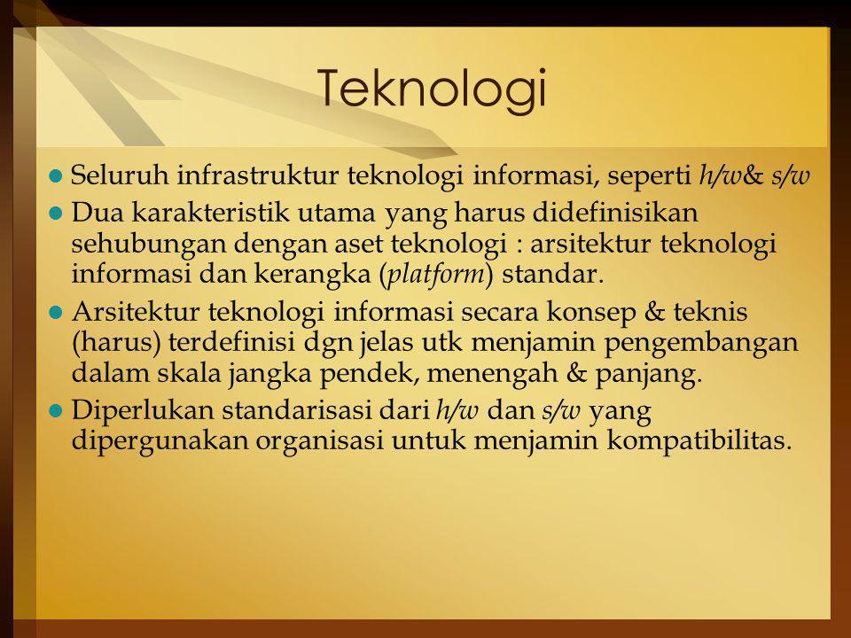 Teknologi Seluruh infrastruktur teknologi informasi, seperti h/w & s/w Dua karakteristik utama yang harus didefinisikan sehubungan dengan aset teknologi : arsitektur teknologi informasi dan kerangka ( platform ) standar.