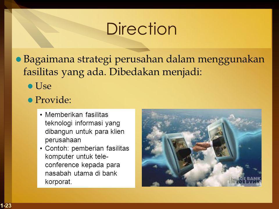 Direction Bagaimana strategi perusahan dalam menggunakan fasilitas yang ada.