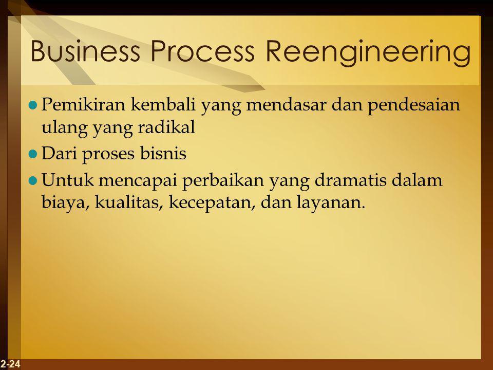 2-24 Business Process Reengineering Pemikiran kembali yang mendasar dan pendesaian ulang yang radikal Dari proses bisnis Untuk mencapai perbaikan yang dramatis dalam biaya, kualitas, kecepatan, dan layanan.