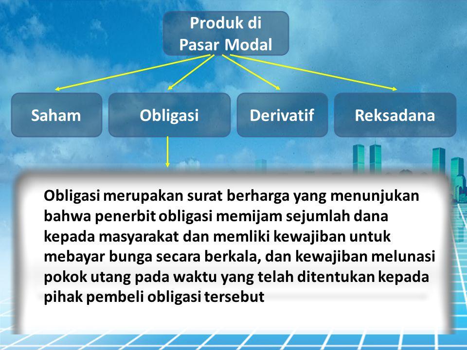 Produk di Pasar Modal Obligasi Saham DerivatifReksadana Obligasi merupakan surat berharga yang menunjukan bahwa penerbit obligasi memijam sejumlah dan