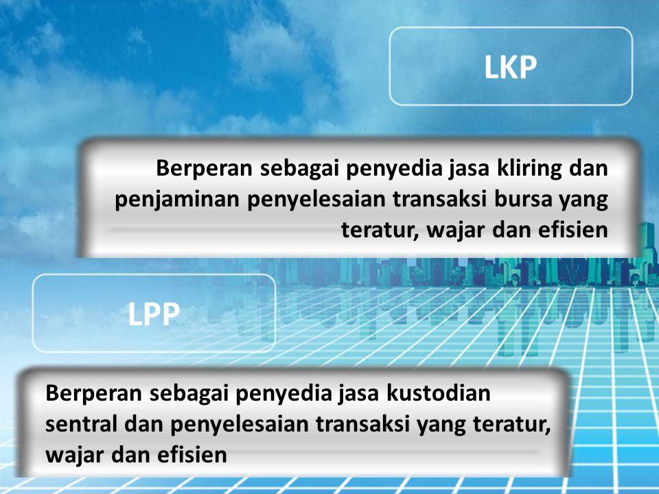 LKP LPP Berperan sebagai penyedia jasa kliring dan penjaminan penyelesaian transaksi bursa yang teratur, wajar dan efisien Berperan sebagai penyedia j