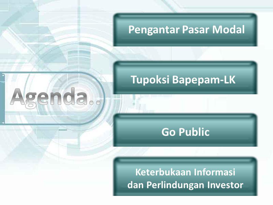 Pengantar Pasar Modal Tupoksi Bapepam-LK Go Public Keterbukaan Informasi dan Perlindungan Investor