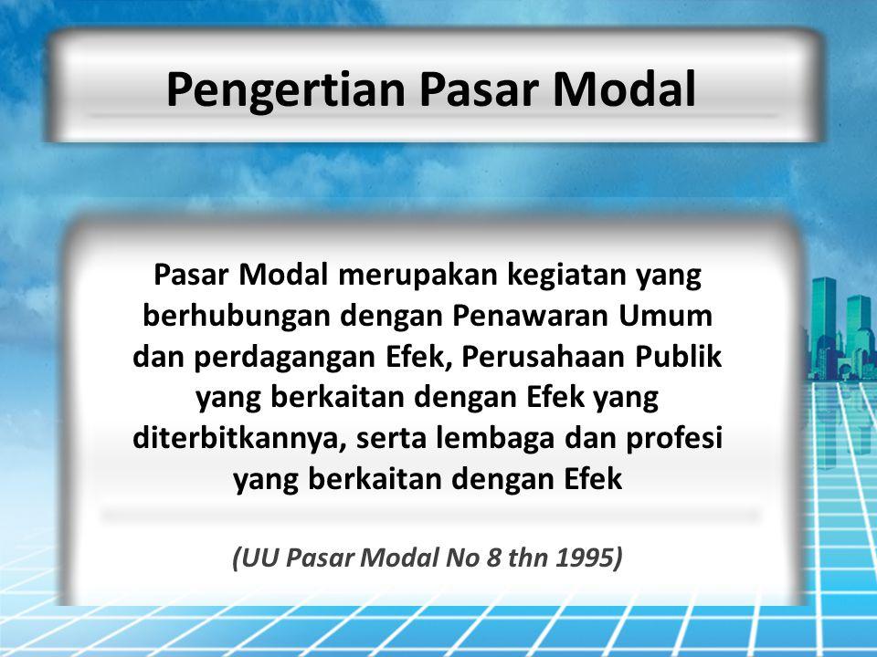 Pengertian Pasar Modal Pasar Modal merupakan kegiatan yang berhubungan dengan Penawaran Umum dan perdagangan Efek, Perusahaan Publik yang berkaitan de